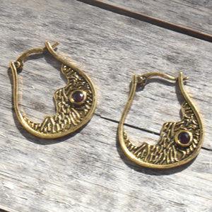Brass Gold Ruby Hoop Earrings Rustic Gemstone